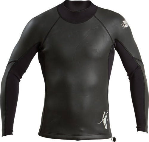 2 mm body and 1 mm sleeve piecing. Pull-over wetsuit top with black zipper for easy fitting. Elastic cord detail to attach to your board shorts for better stability, elastic cord with toggle to secure waistline.