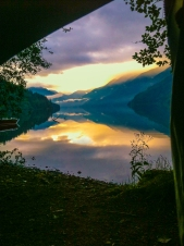 View from my tent, Lake Cresent